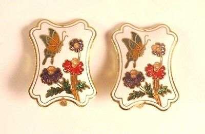 Circa 1970/'s Hibiscus Flower and Butterfly Design Vintage Cloisonn\u00e9 Enamel Clip On Earrings Leaf Shaped