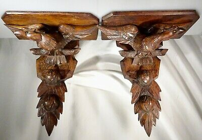 Antique Pair Carved Wood Eagle Wall Shelf Brackets -  56197