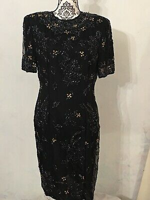 NEW Vintage Stenay Size 10 Beaded 100% Silk Sequined Party Cocktail Dress Black