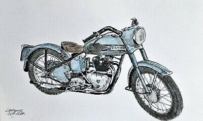 Original Signed Pen & Ink / Watercolour Vintage Triumph Motorcycle Drawing