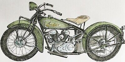 Original Signed Pen & Ink +W 'Colour Vintage Indian Chief Motorcyle Drawing