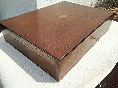 VINTAGE WOODEN CUTLERY CANTEEN BOX / STORAGE BOX with BRASS CARTOUCHE & KEY