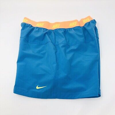 Nike Dri Fit Girls Running Shorts XL Blue Turquoise Compression 728905-447