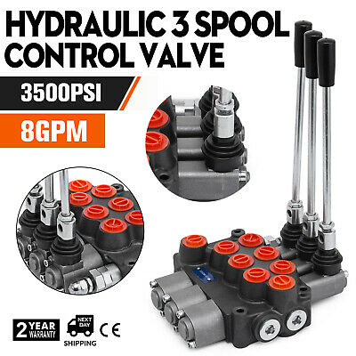 3 Spool Hydraulique Valve de Commande 8GPM 3500PSI Cylindre Double Acting