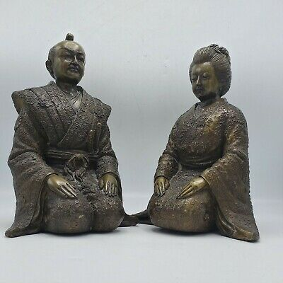 Vintage Large Bronze Asian Japanese Sculptures Man & Woman in Ceremonial Dress