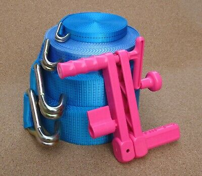 "Pink Adjustable Ratchet Strap Winder for Straps up to 4"" Wide Cargo Lashing"