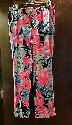 NWT LILLY PULITZER Madiera Pant TROPICOLADA High Tide Navy size 8 or 12 $138