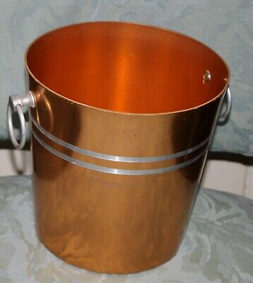 vintage anodised metal ice bucket gold orange ish