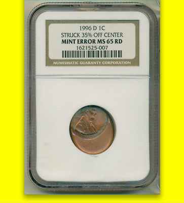 1996-D NGC MS65 RD █ 35% Off Center ☗ Stretcher ◉ Scarce Date ♛ Lincoln Cent 1c