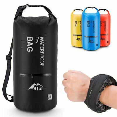 5L-40L Waterproof Dry Bag Backpack 2 Exterior Zip Pocket Kayaking Boating Beach