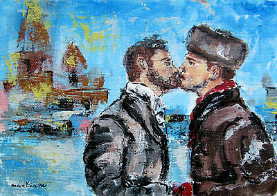 ORIGINAL art painting two men man male cityscape gay couple kiss embrace winter