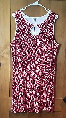 e75dd763f7ab MAX STUDIO RED And White Swing Dress With Tie String In Front Size L ...