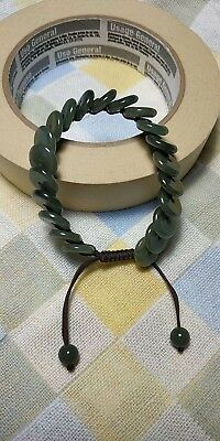 100% Natural Burma Jadeite Jade adjustable woven safety buckle bracelet A#282