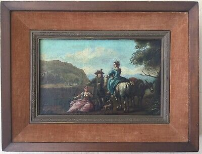 Fine Art  European Antique 18th Century Baroque Original Oil On Canvas Painting