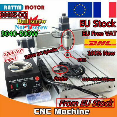 【EU+FR】 3 Axis 3040Z-DQ 500W CNC Router Engraver Milling Drilling Cutter Machine
