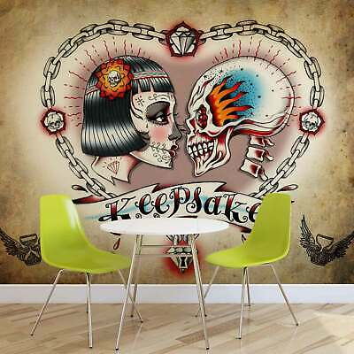 WALL MURAL PHOTO WALLPAPER PICTURE (1350P) Skull Heart Tattoo
