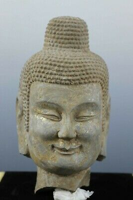 Fine Beautiful Chinese Rare Stone Carved Buddha Head Statue