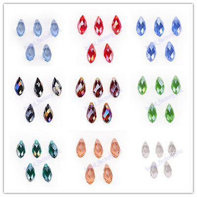 10Pcs Faceted Teardrop Charms Bead Crystal Spacer Loose Glass Beads 8x16mm