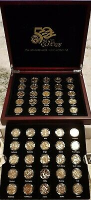 BOXED SET(50)OF GOLD PLATED USA STATE QUARTER DOLLAR COINS With CERTIFICATES new