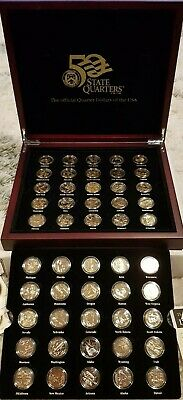 Boxed  Set(50) Of Gold Plated Usa State  Quarter  Dollar  Coins W/ Certificates
