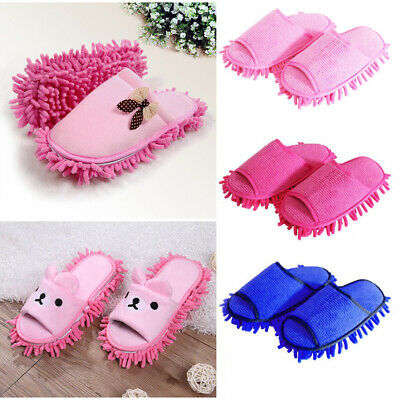 Pair Microfibre Mop Slippers Lazy Floor Foot Socks Shoes Polishing Cleaning Dust