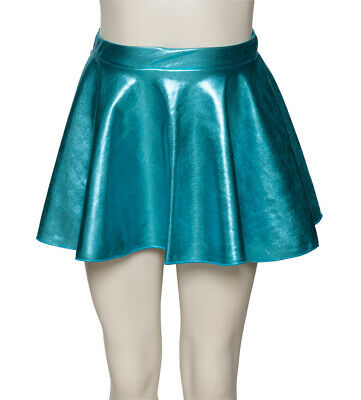 Turquoise Blue Shiny Metallic Dance Circular Skirt KDSK01 Katz Dancwear SECONDS