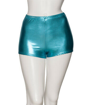 Turquoise Shiny Metallic Dance Hot Pants Shorts Katz Dancwear KHPM-5 SECONDS