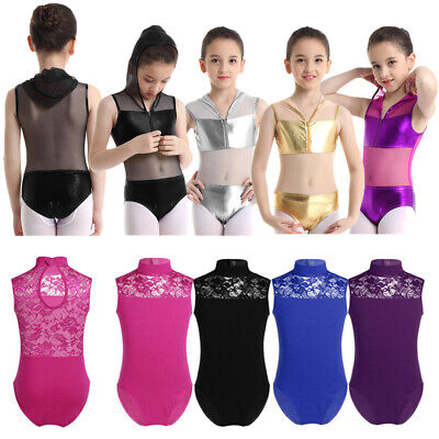 Kid Girl Gymnastics Dance Leotards Sleeveless Hooded Bodysuit Dancewear Costumes