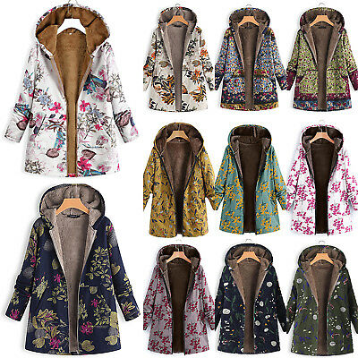 Women Autumn Winter Hooded Boho Floral Jacket Outerwear Parka Furry Fleece Coat