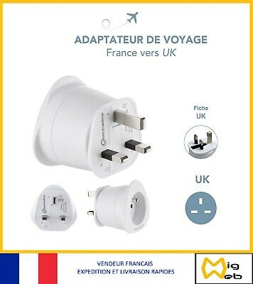 Electraline 70053 Adaptateur de voyage France//Europe vers UK 2 Broches Europe vers 3 Broches Uk White