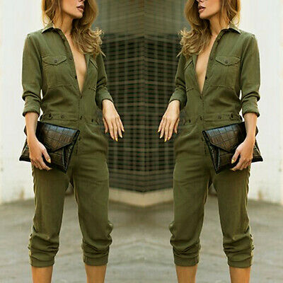 Womens Cargo Long Sleeve Retro Casual Solid Jumpsuit Romper Playsuit Overalls US