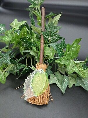 Witches Mini broom Besom Altar spell supplies Pagan Witchcraft green white leaf