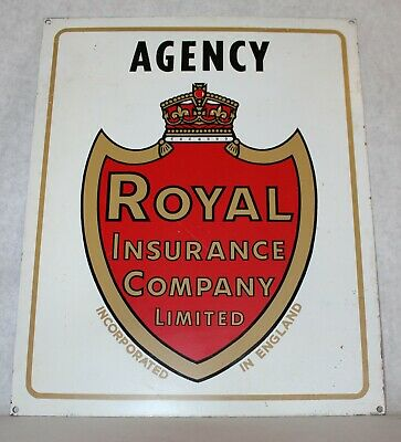 ROYAL INSURANCE COMPANY LIMITED Heavy Steel Sign Genuine Original 1950's?