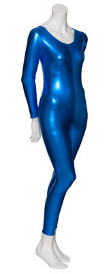 Royal Blue Shiny Metallic Dance Catsuit Unitard Katz Dancwear KDC017 SECONDS