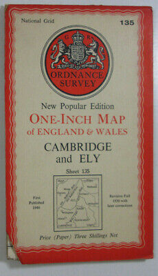1946 Old OS Ordnance Survey New Popular Edition One-Inch Map 135 Cambridge & Ely