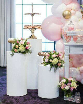 3pcs White Round Acrylic Plinth Cylinder Pedestal  Wedding Display Stand Party