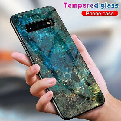 For Samsung Galaxy M20 A70 S10e Plus Glossy Marble Temper Glass Phone Case Cover