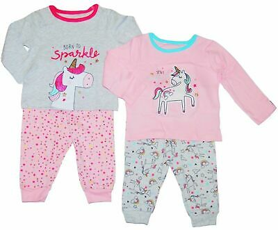 Baby Girls Pyjamas 2 Pack Unicorn Theme Ex Uk Store 0-36M Toddler Night Wear New