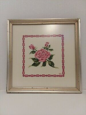 Completed Framed Pink Rose Cross Stitch Print
