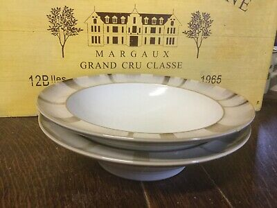Denby - Truffle Layers - Rimmed Soup/Pasta Bowls X2 With Chips See Description