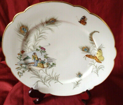 """Stunning Vintage Hand Painted Continental Oriental Design Gold Gilt 9"""" Plate"""