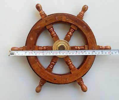 Nautical Wooden Ship Steering Wheel Pirate Decor Wood Brass Collectible 12 inch