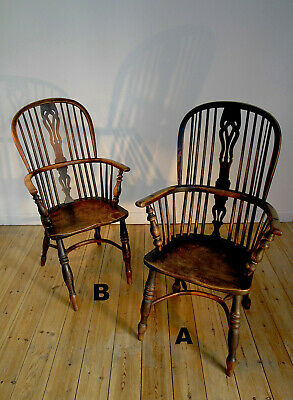 Pair of yew & elm antique Windsor Chairs with crinoline stretchers. Early 19th C