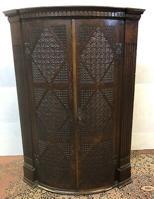 19th Century Solid Oak Highly Carved Corner Cupboard