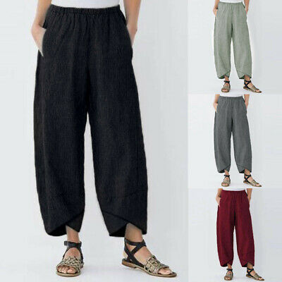 Fashion Womens Casual Solid Pocket Elastic Waist Loose Linen Pants Trousers AU