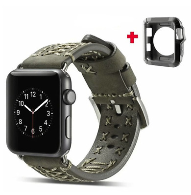 Leather Band for Apple Watch 40mm/38mm Iwatch 4 3 2 1 Gray Green Strap W/Case