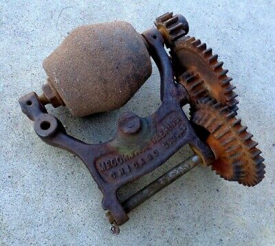 Antique Farm Cast Iron Gears Industrial Art SteamPunk Rusty Metal Stone Grinder