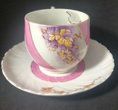 Antique German Mustache Cup Pink Gold & White Flowers Bands 2P