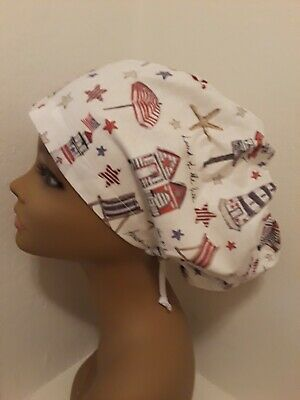 e19697a87ad Patriotic Beach 4th of July Women's Euro/Chef Surgical Scrub Hat/Cap  Handmade