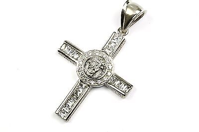 925 Sterling, Vintage Religious Crucifix Jesus Face Cz Inlay Cross Pd 517